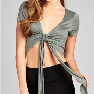 Olive green Tie front Crop Top